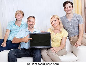 laptop, pai, tela, apontar, em branco