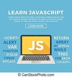 laptop, palavra, tela, js