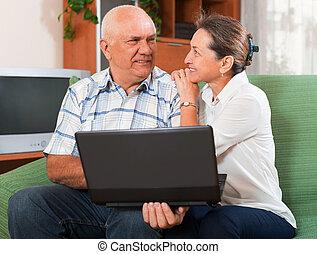 laptop, para, dojrzały
