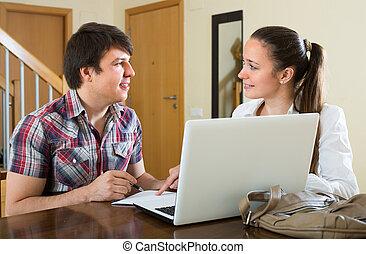 laptop, para, młody