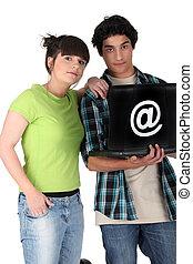 laptop, para, teenage