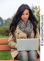 laptop, park, mann