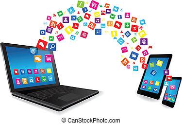 laptop, pastylka pc, i, mądry, telefon, z, apps