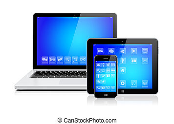 laptop, pastylka pc, i, smartphone