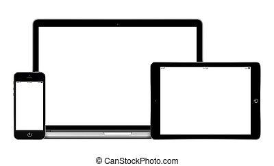 laptop, pc tabela, computador, e, móvel, smartphone, com, tela branco, mockup