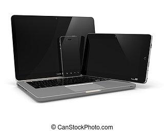 laptop, pc tavoletta, e, mobile, telefono.