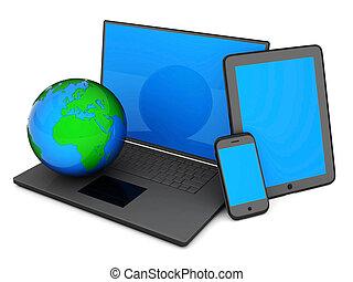 laptop, pc tavoletta, e, smartphone