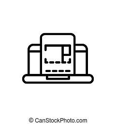 laptop plan architecture icon line style