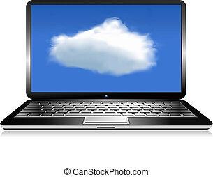 laptop, połączenie, chmura