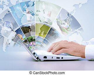laptop, pojęcie, nowoczesny, multimedia