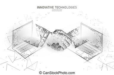 laptop, poly, tecnologia, teia, rede, banner., concept., polygonal, baixo, internet, internacional, 3d, finanças, negócio, acordo, ilustração, handshake., sucesso, contrato, conexão, vetorial, homem negócios