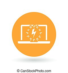 Laptop power charge icon. Notebook lightning bolt sign. Computer electric flash symbol. Vector illustration.