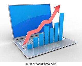 laptop, powstanie, wykresy, 3d