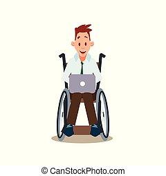 laptop, praca, niepełnosprawny, szczęśliwy, wheelchair, człowiek