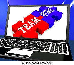 laptop, praca, widać, jedność, drużyna