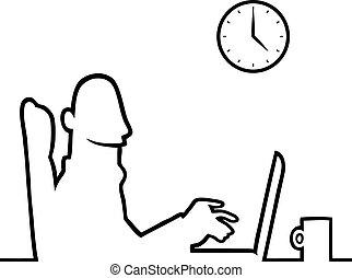 laptop, pracujący, człowiek