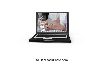 Laptop presenting an agreement betw