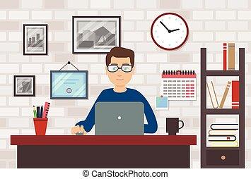 laptop, quarto moderno, homem