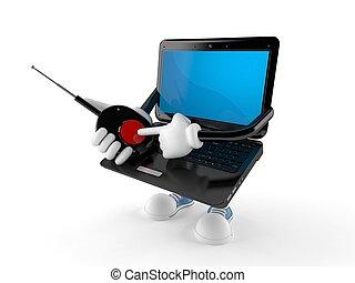 laptop, rámenős, betű, gombol