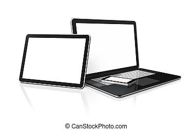 laptop, rörlig telefonera, och, digital tablet, persondator dator
