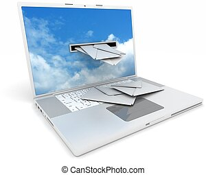 laptop, recieving, email, din