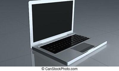 laptop, rodzina, widać