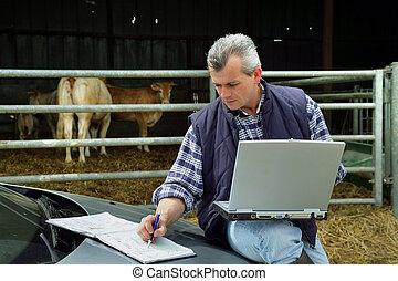laptop, rolnik