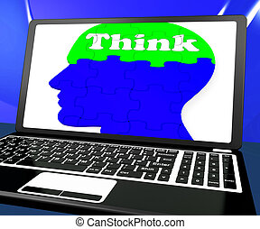laptop, rozwiązująca problematyka, mózg, online, myśleć, widać