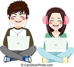 laptop, słuchawki, nastolatki, posiedzenie