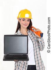 laptop, samica, ekran, dzierżawa, czysty, budowniczy
