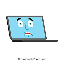 Laptop scared OMG emoji face avatar. Computer Oh my God emotions. PC Frightened. Vector illustration