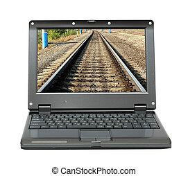 laptop, schermo, infinità, ferrovia