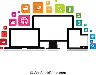 laptop, schreibtisch, tablette, smartphone, app