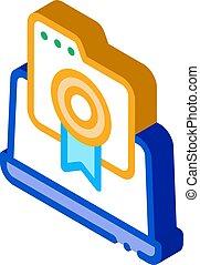 laptop screen screenshot icon vector. isometric laptop screen screenshot sign. color isolated symbol illustration