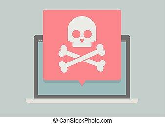 Laptop Screen Skull