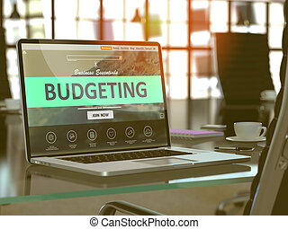 Laptop Screen with Budgeting Concept.