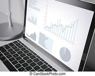 Laptop screen with business charts. 3d rendering