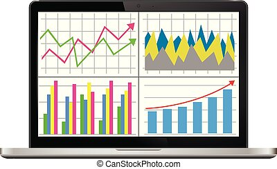 Laptop screen with financial charts and graphs