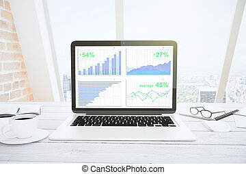 Laptop Screen with financial statistics