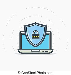 laptop, scudo, protezione