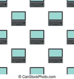 Laptop seamless pattern in cartoon style isolated on white background vector illustration