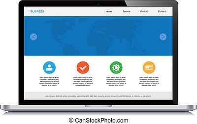 laptop, sensibile, disegno web, sfondo bianco