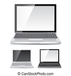 Laptop set isolated on white vector