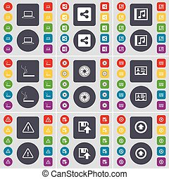 Laptop, Share, Music window, Cigarette, Lens, Contact, Warning, Floppy, Arrow up icon symbol. A large set of flat, colored buttons for your design. Vector