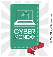 Laptop shopping bag and cyber monday design