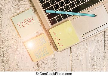laptop, showcasing, desk., must, lämna, notice., foto, ...
