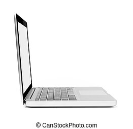 Silver laptop, side view, on white background