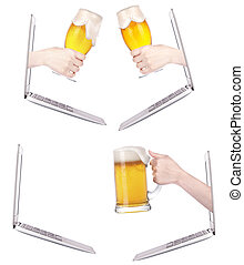 Laptop side with beer toasting