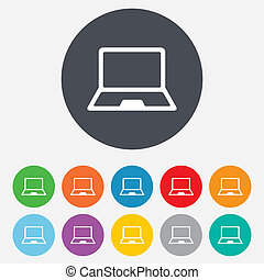 Laptop sign icon. Notebook pc symbol. Round colourful 11...