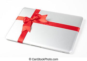 laptop, silber, geschenk